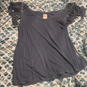 Distressed, fringe shoulders, billabong shirt